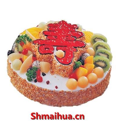 双层祝寿蛋糕/寿福连连