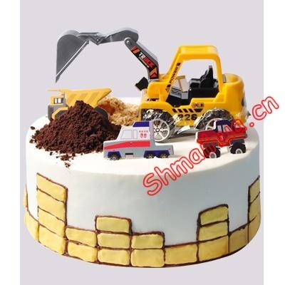 """挖土机工程车蛋糕"""""""